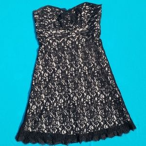 WHBM Black Lace Strapless Dress Size 8